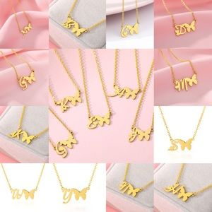 New sterling gold chain letter butterfly necklaces